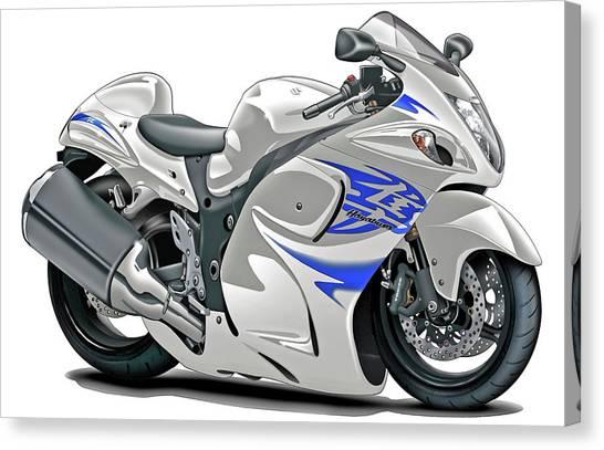 Suzuki Canvas Print - Suzuki Hayabusa White-blue Bike by Maddmax
