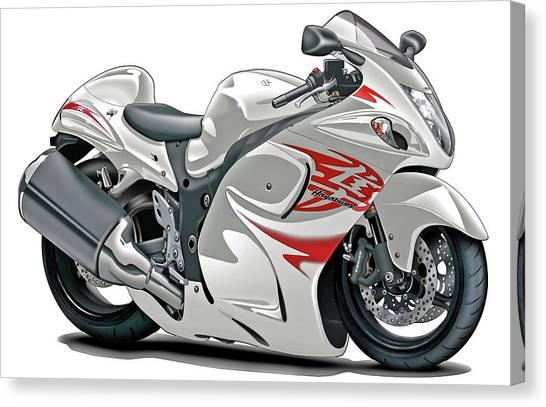 Suzuki Canvas Print - Suzuki Hayabusa White-red Bike by Maddmax