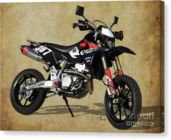 Arte Canvas Print - Suzuki Race Motorcycle. 387. by Drawspots Illustrations