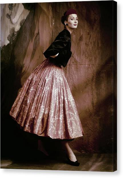 Suzy Parker In Givenchy Full Skirt Canvas Print by John Rawlings