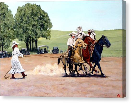 Bull Riding Canvas Print - Suzzi Q. Whirling The Rope by Tom Roderick