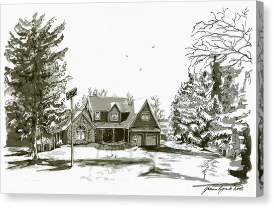 Svege Ny In Winter Canvas Print by Yvonne Ayoub