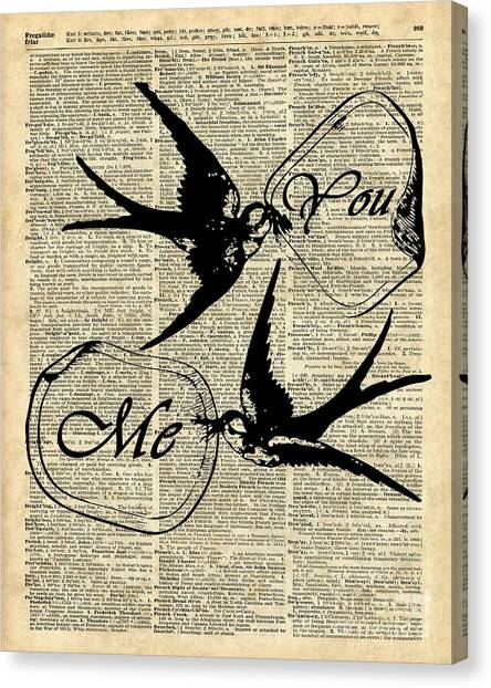 Love Canvas Print - Swallows In Love,flying Birds Vintage Dictionary Art by Anna W
