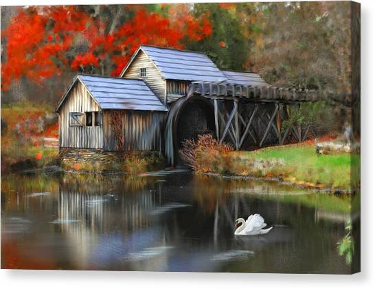 Swan At Mabry Mill Canvas Print