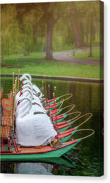 Pontoon Canvas Print - Swan Boats Of Boston Public Garden  by Carol Japp