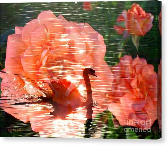 Swan In Lake With Orange Flowers Canvas Print