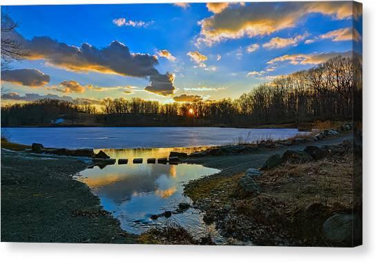 Swan Lake Sunset Canvas Print