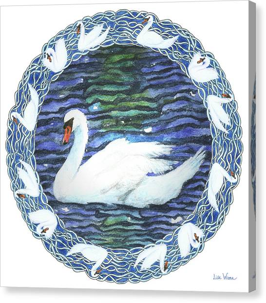 Swan With Knotted Border Canvas Print
