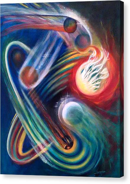 Canvas Print featuring the painting Swandance by Thomas Lupari