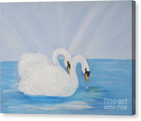 Swans On Open Water Canvas Print