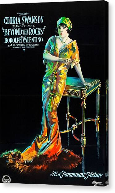 Gloria Swanson Canvas Print - Swanson And Valentino In Beyond The Rocks 1922 by Mountain Dreams