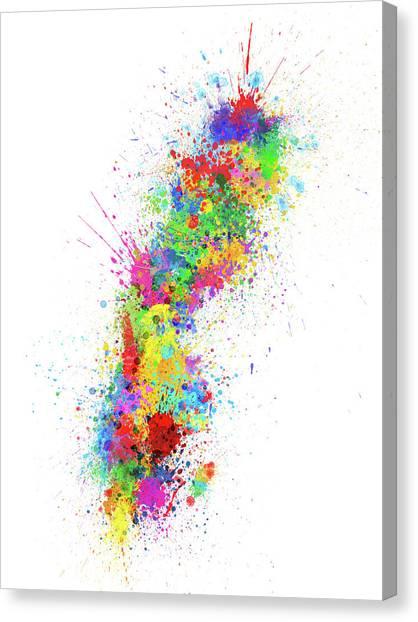 Swedish Canvas Print - Sweden Paint Splashes Map by Michael Tompsett
