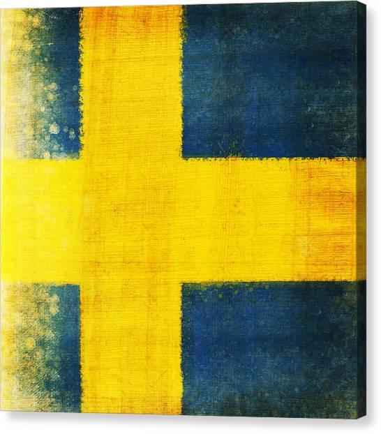 Patriotic Canvas Print - Swedish Flag by Setsiri Silapasuwanchai