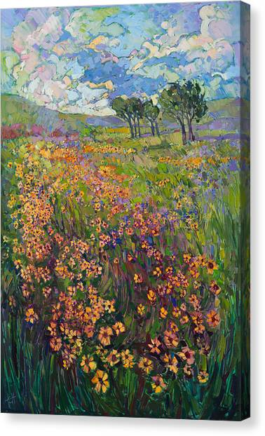 Rolling Hills Canvas Print - Sweep Of Wildflowers by Erin Hanson