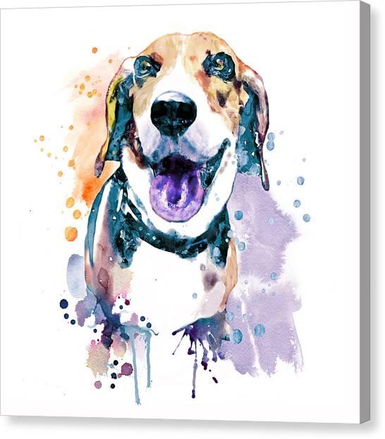 Watercolor Pet Portraits Canvas Print - Sweet Beagle by Marian Voicu