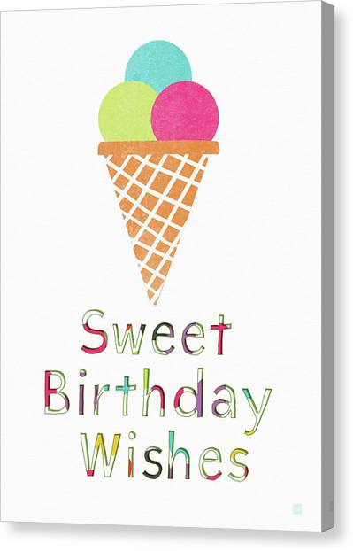 Ice Canvas Print - Sweet Birthday Wishes- Art By Linda Woods by Linda Woods