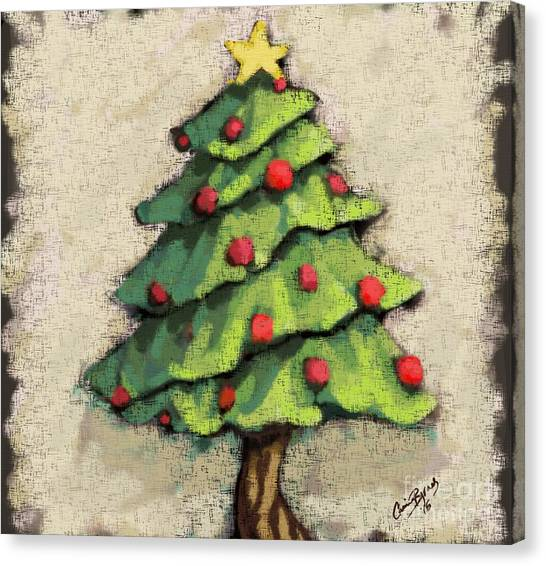 Tree Canvas Print - Sweet Christmas Tree by Carrie Joy Byrnes