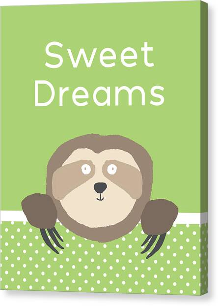 Canvas Print - Sweet Dreams Sloth Green- Art By Linda Woods by Linda Woods