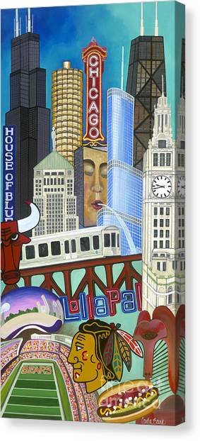 Canvas Print featuring the painting Sweet Home Chicago by Carla Bank