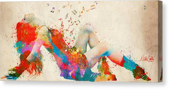 Singing Canvas Print - Sweet Jenny Bursting With Music Cropped by Nikki Marie Smith
