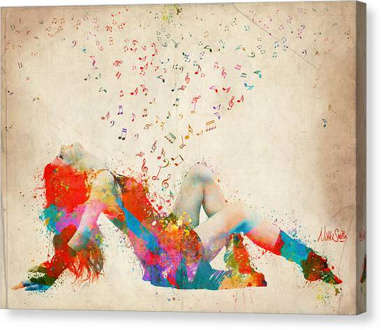 Music Canvas Print - Sweet Jenny Bursting With Music by Nikki Smith