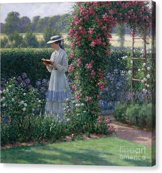 Garden Flowers Canvas Print - Sweet Solitude by Edmund Blair Leighton