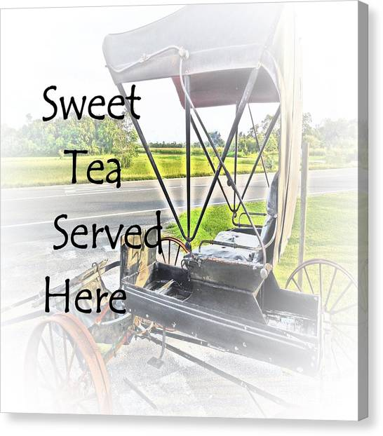Sweet Tea Canvas Print - Sweet Tea Served Here by Eloise Schneider Mote