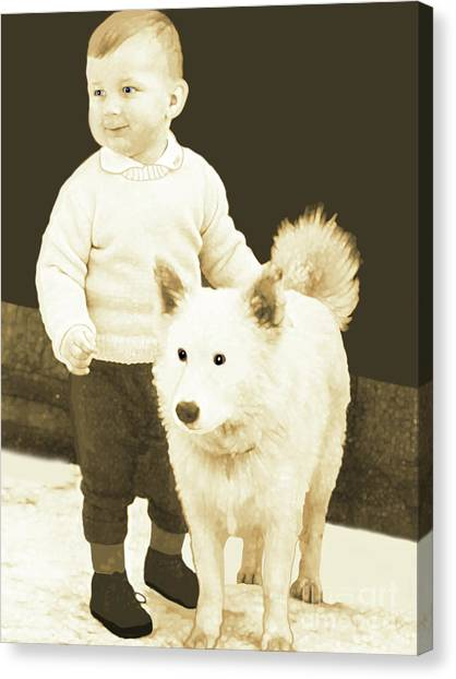 Canvas Print featuring the painting Sweet Vintage Toddler With His White Mutt by Marian Cates