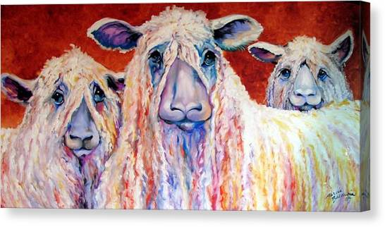 Sweet Wensleydales Sheep By M Baldwin Canvas Print by Marcia Baldwin