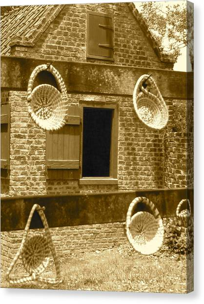 Sweetgrass Baskets And Slave Shack Canvas Print by Staci-Jill Burnley