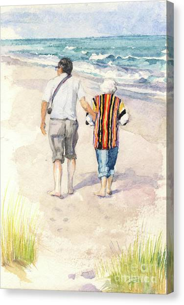 Sweethearts At The Beach Canvas Print