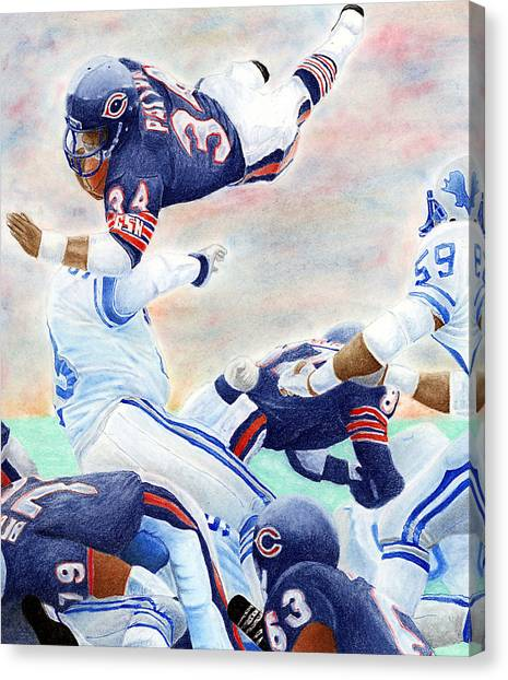 Walter Payton Canvas Print - Sweetness Over The Top by Lyle Brown