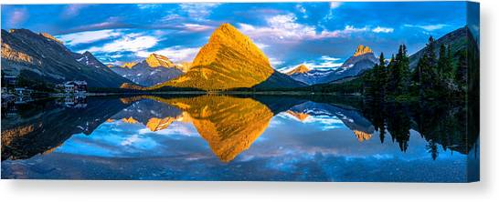 Swiftcurrent Lake Sunrise Panorama Canvas Print