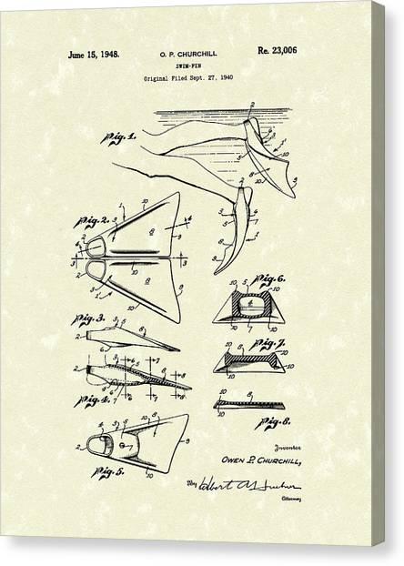 Flipper Canvas Print - Swim Fin 1948 Patent Art by Prior Art Design