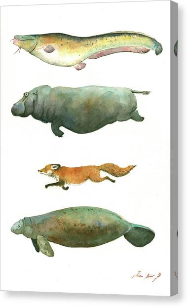 Hippos Canvas Print - Swimming Animals by Juan Bosco