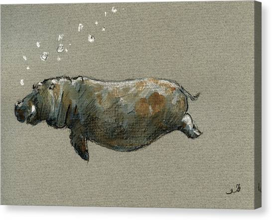 Hippos Canvas Print - Swimming Hippo by Juan  Bosco