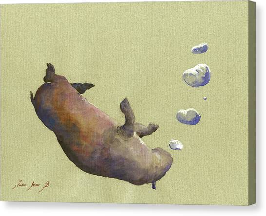 Hippos Canvas Print - Swimming Hippo With Bubbles by Juan Bosco
