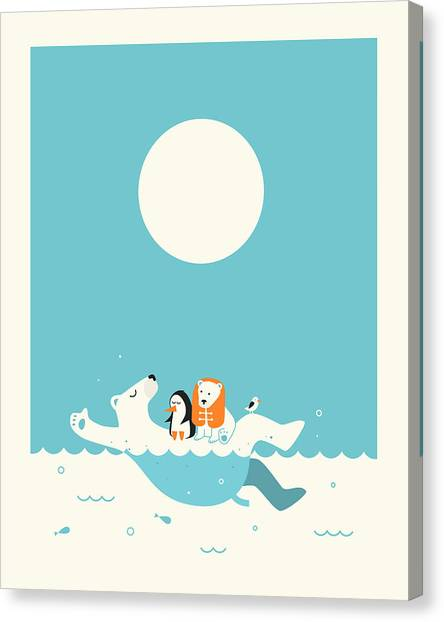 Polar Bear Canvas Print - Swimming Lessons 1 by Jazzberry Blue
