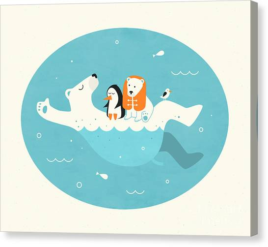 Polar Bears Canvas Print - Swimming Lessons 2 by Jazzberry Blue