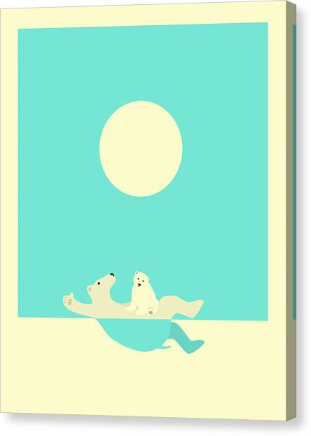 Bears Canvas Print - Swimming Lessons by Jazzberry Blue