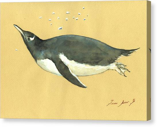 Penguins Canvas Print - Swimming Penguin by Juan  Bosco
