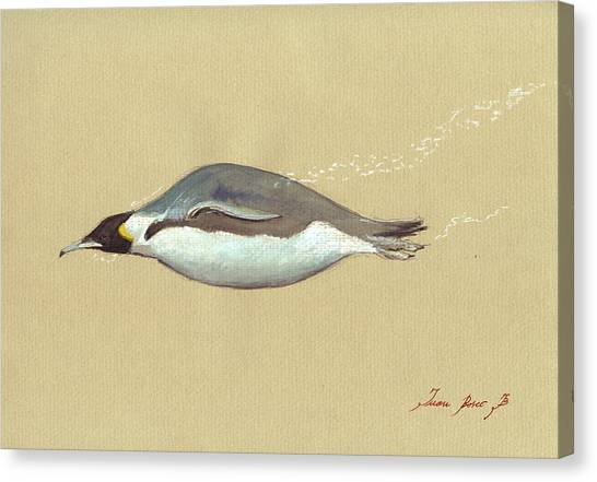 Sea Bird Canvas Print - Swimming Penguin Painting by Juan  Bosco