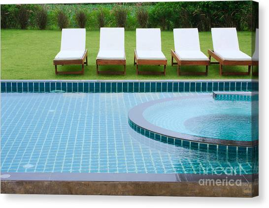 Swimming Pool And Chairs Canvas Print