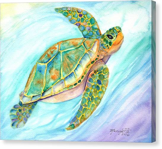 Swimming, Smiling Sea Turtle Canvas Print