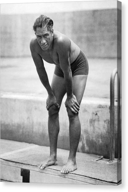 Volleyball Canvas Print - Swimming Star Duke Kahanamoku by Underwood Archives