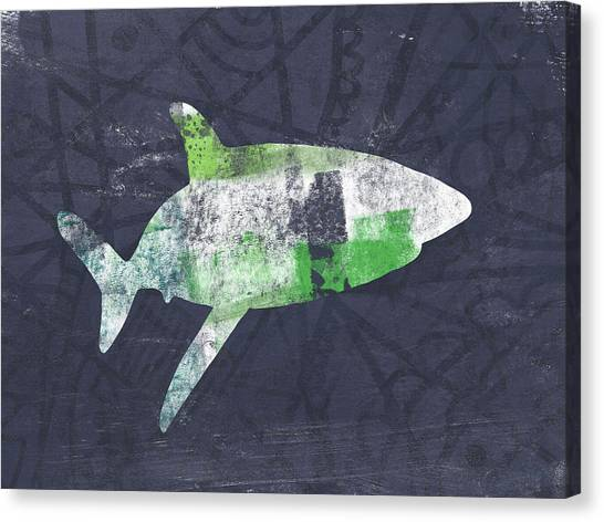 Shark Canvas Print - Swimming With Sharks 2- Art By Linda Woods by Linda Woods