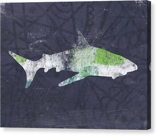 Waving Canvas Print - Swimming With Sharks 3- Art By Linda Woods by Linda Woods