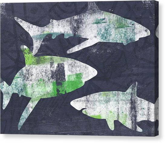 Shark Canvas Print - Swimming With Sharks- Art By Linda Woods by Linda Woods