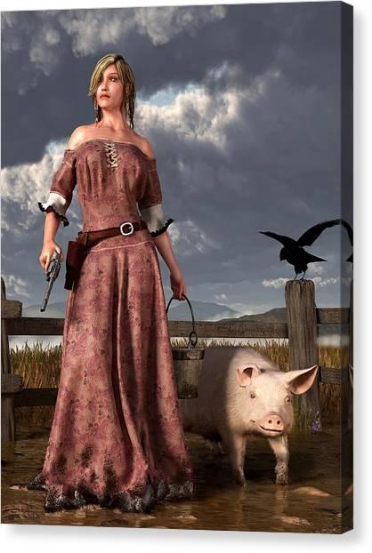 Pig Farms Canvas Print - Swineherdess by Daniel Eskridge