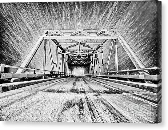 Swing Bridge Blizzard Canvas Print